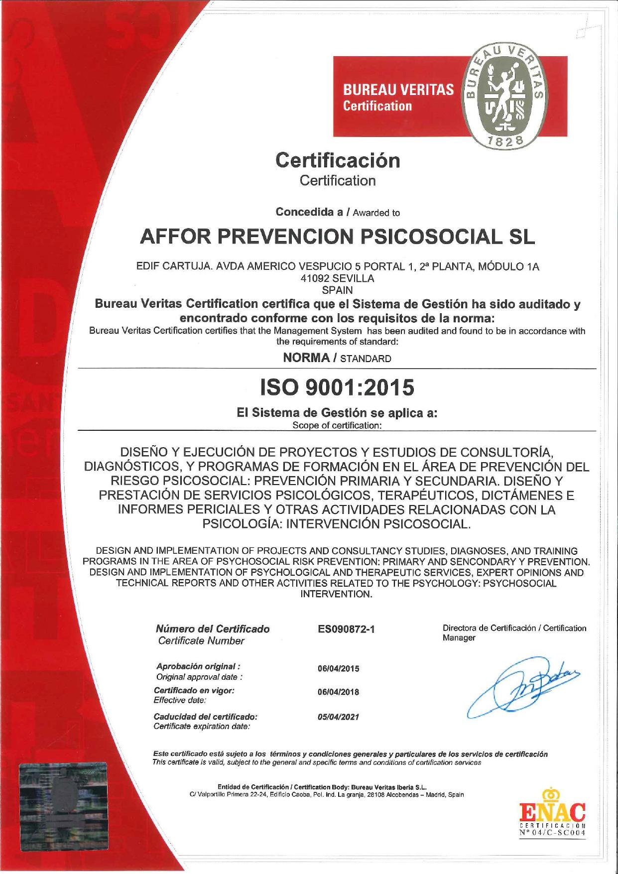 Certificado Bureau Veritas ISO 9001